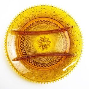 Vintage Amber Indiana Tiera Divided Plate Tray
